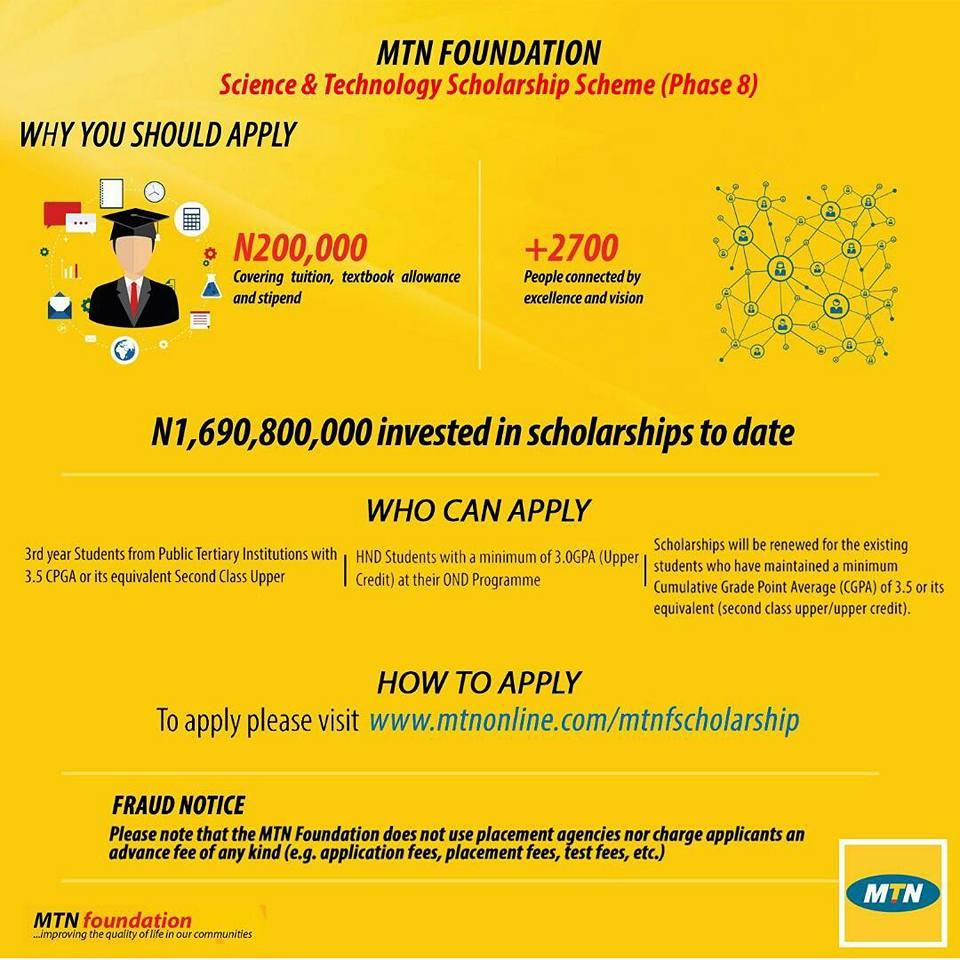 The MTN Foundation Science & Technology Scholarship scheme