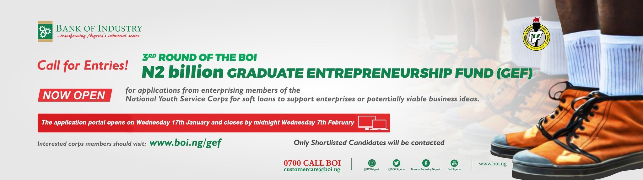 Bank Of Industry (BOI) 2 Billion Naira Graduate Entrepreneurship Fund For NYSC Members - 2018