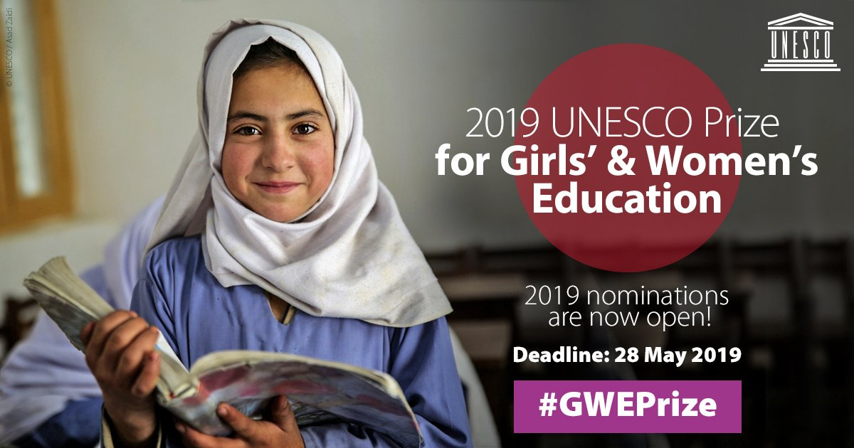 UNESCO Prize for Girls' and Women's Education 2019