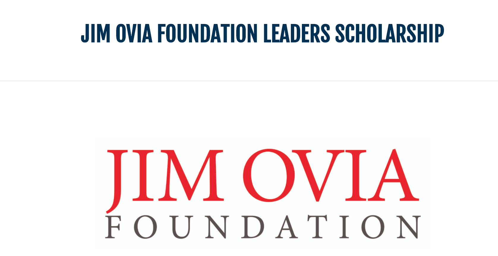 JIM OVIA FOUNDATION LEADERS SCHOLARSHIP