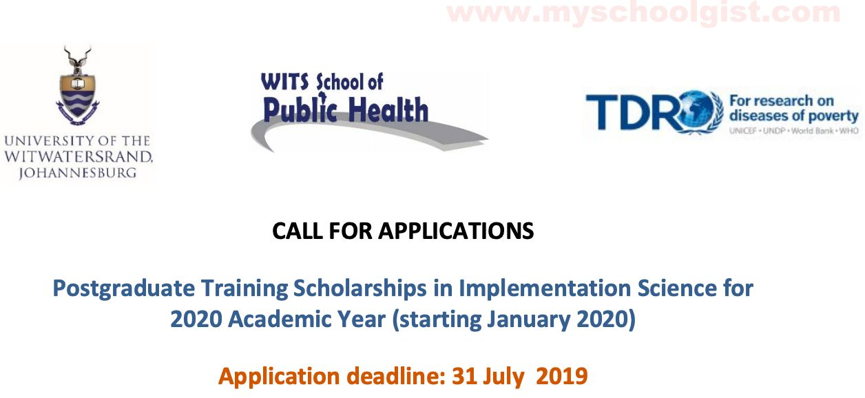 TDR Postgraduate Scholarship at University of the Witwatersrand