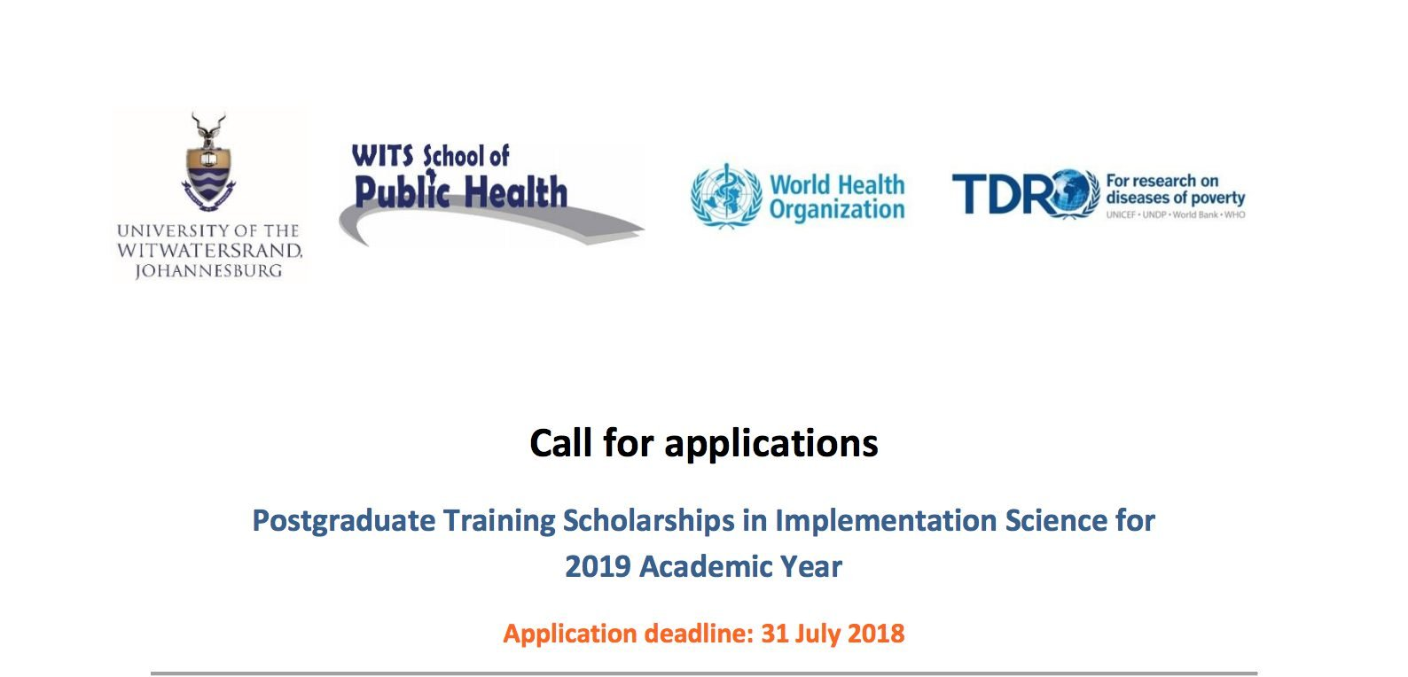 University of the Witwatersrand's WHO:TDR Postgraduate Training Scholarships in Implementation Science 2019
