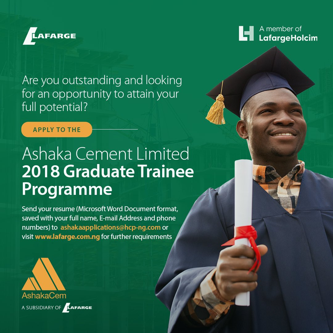 Ashaka Cement Limited Graduate Trainee Programme 2018