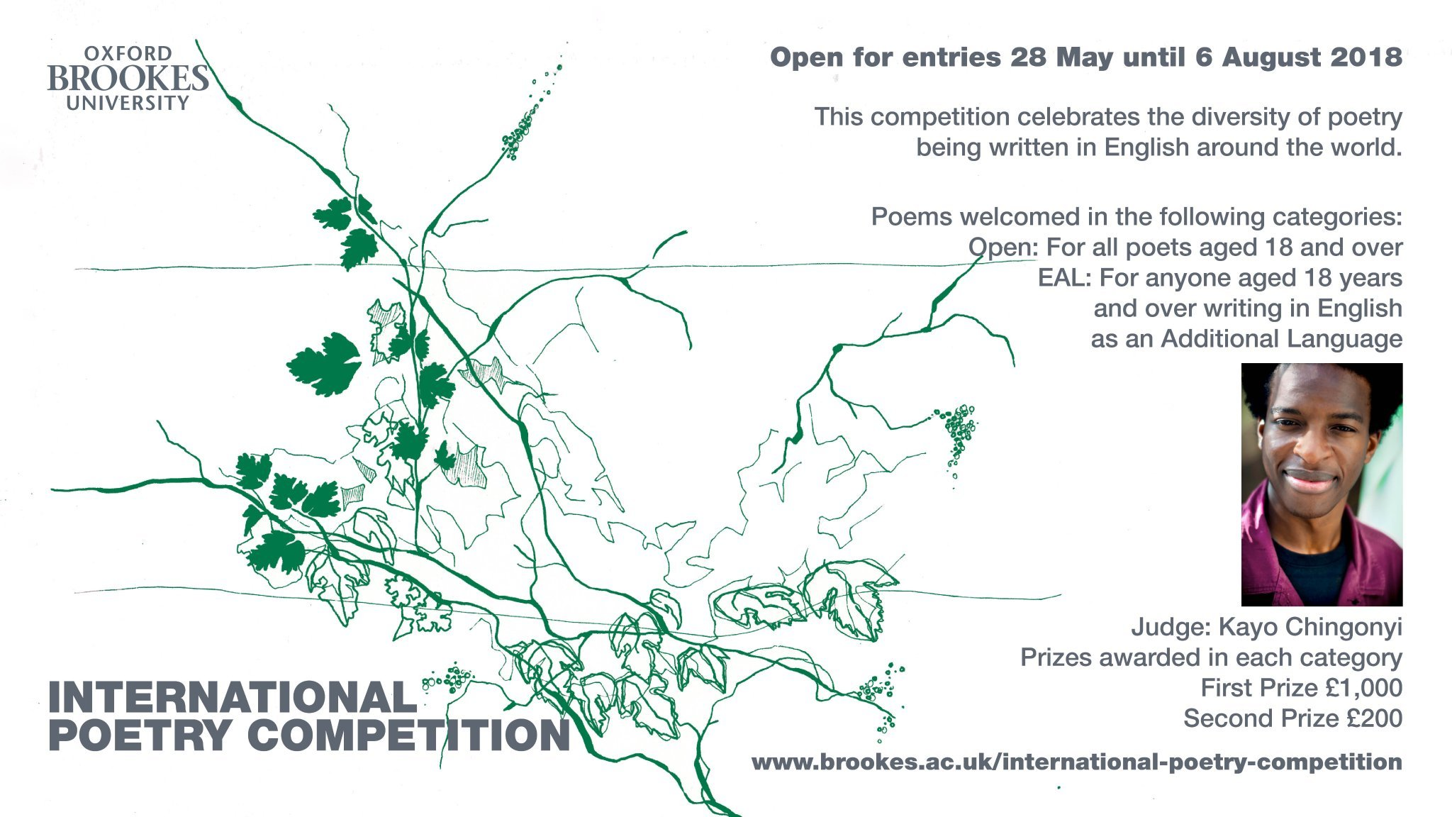 Oxford Brookes Poetry Centre 2018 International Poetry Competition