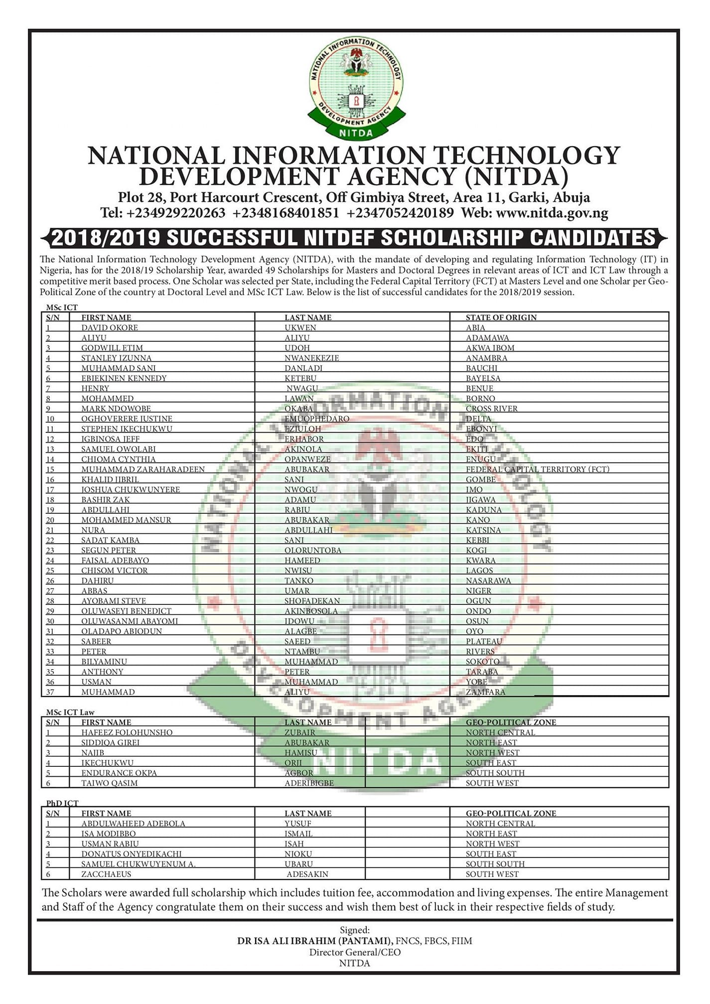 NITDA's 2018 2019 Successful Scholarship Candidates