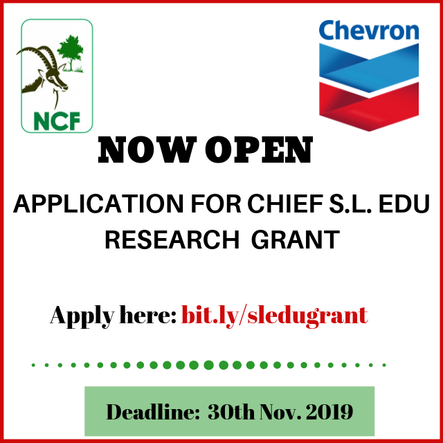 Nigerian Conservation Foundation Chief S.L Edu Research Grant 2019