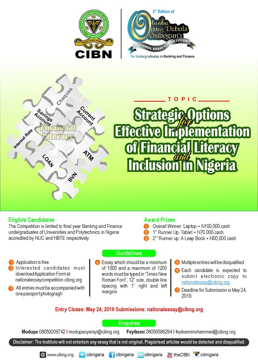 cibn Otunba Debola Osibogun National Essay Competition