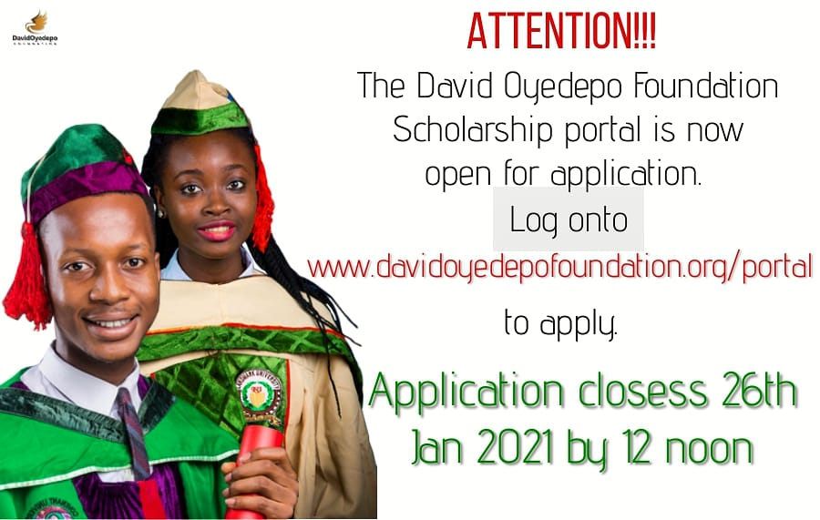 David Oyedepo Foundation Undergraduate Scholarship 2021