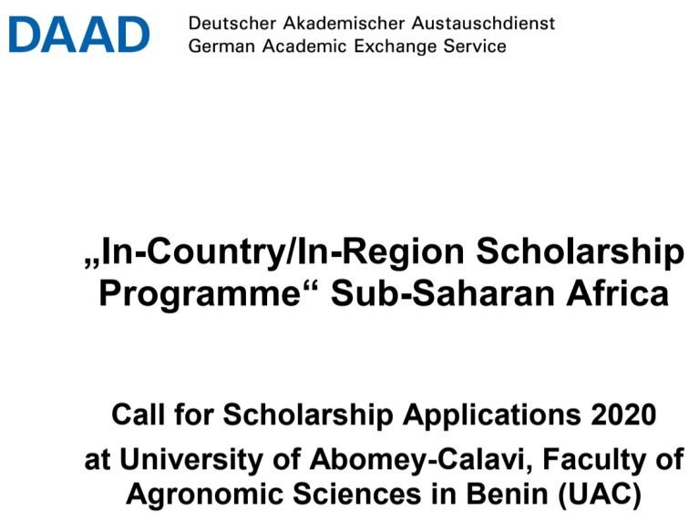 DAAD In-Country:In-Region Scholarship Programme 2020 at University of Abomey-Calavi