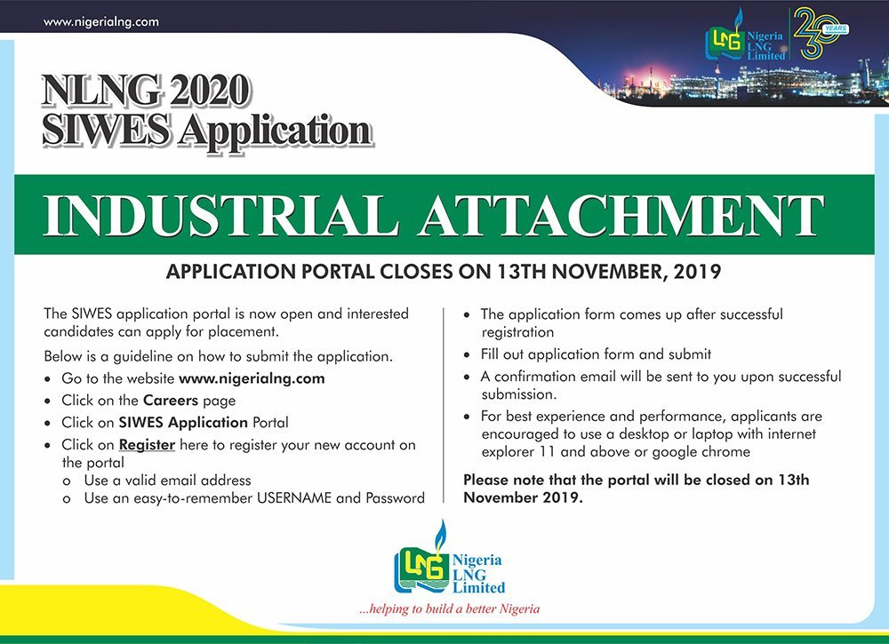 Nigeria Liquefied Natural Gas (NLNG) 2020 SIWES Application