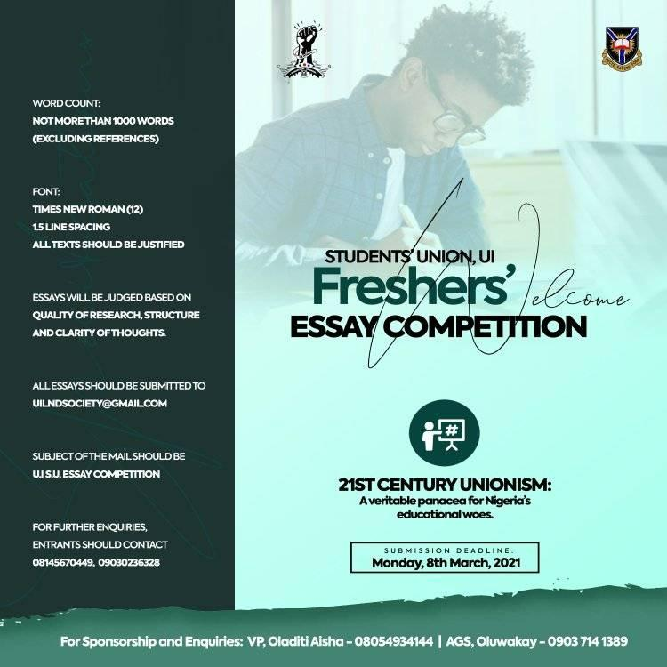 UI Students' Union Freshers' Essay Competition 2021