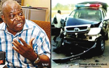 On the left, Prof. Iyayi. On the right, the accident scene