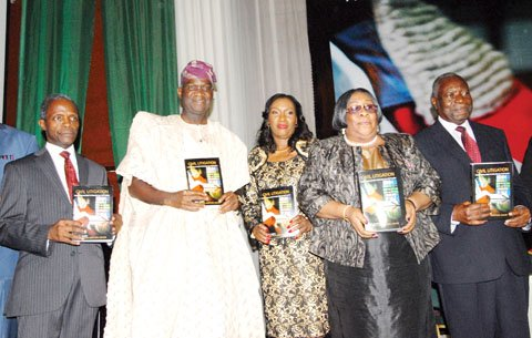L-R: Book Reviewer, Prof Yemi Osinbajo; Lagos State Governor, Mr. Babatunde Fashola; author, Justice Oludotun Adefope-Okojie; Chief Judge of Lagos State, Justice Ayotunde Phillips and former chairman, Independent Corrupt Practices Commission, Justice Emmanuel Ayoola, during the public presentation of a book titled, 'Civil Litigation-A Quick Reference Guide to Substantive Law and Procedure' in Lagos... on Friday.