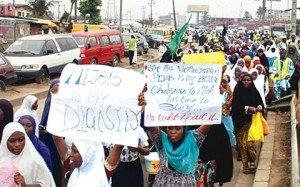 Muslim pupils during a protest against hijab ban in Lagos public schools