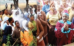 Pupils of Baptist High School, Iwo on the assembly ground... on Tuesday.