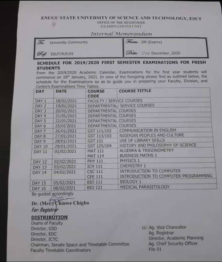 ESUT Exam Timetable for 100L students