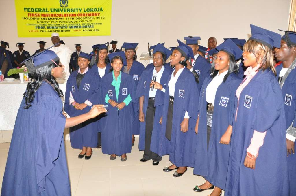 Cross section of pioneer students singing FUL Anthem at the First Matriculation Ceremony held on 17th December, 2012 at the University Auditorium.