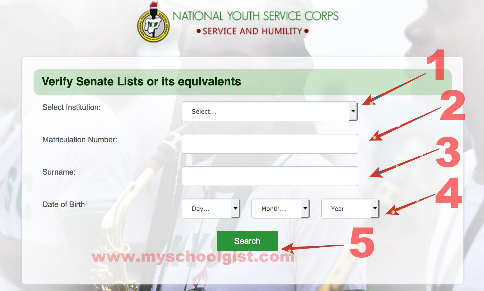 Check NYSC Senate List or its equivalents