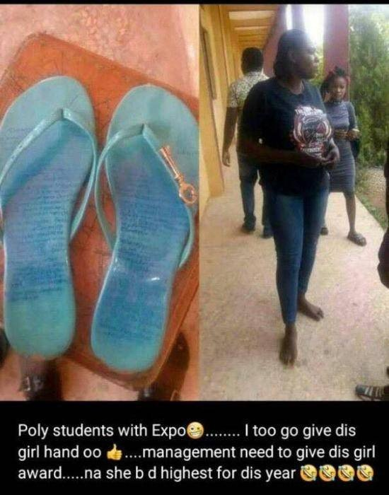 Female Student Caught with 'Expo' Scribbled On Slippers