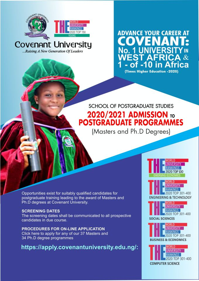 Covenant University Postgraduate Admission Form for 2020:2021 Academic Session