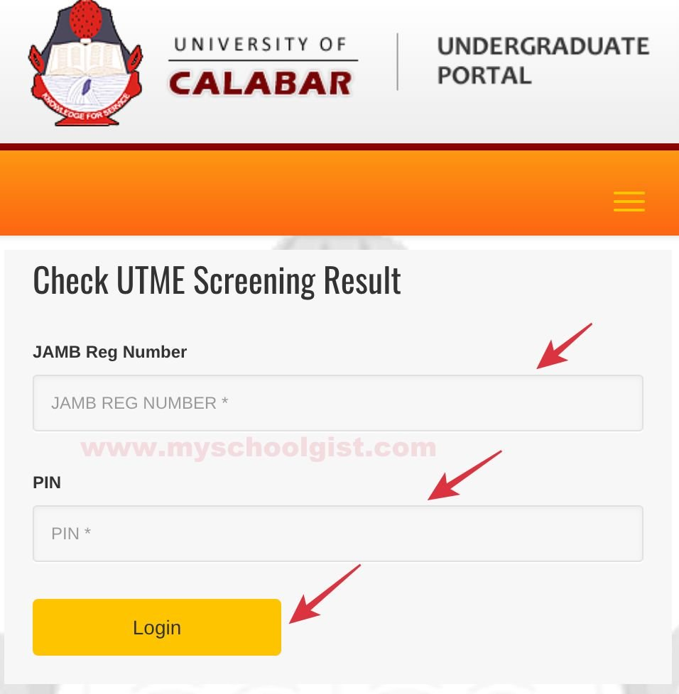 how to check UNICAL post UTME result