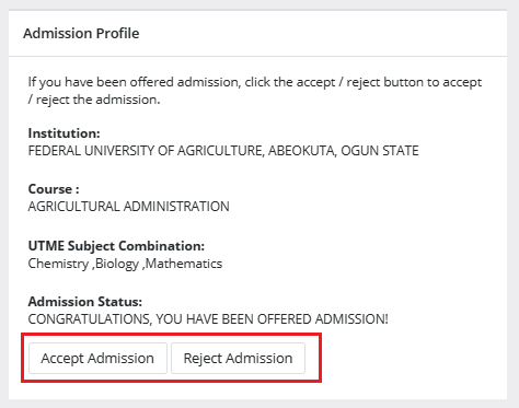 offered admission on caps