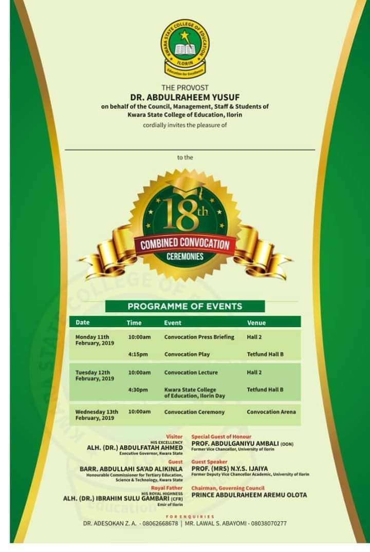 Kwara State College of Education Convocation Ceremonies Programme of Events