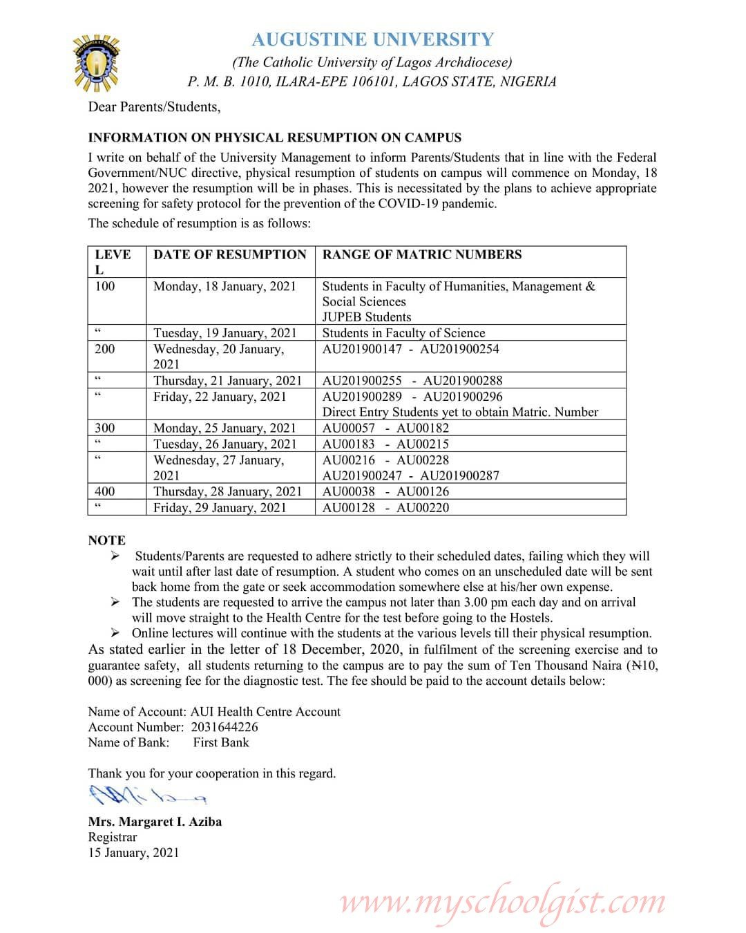 Augustine University Physical Resumption on Campus