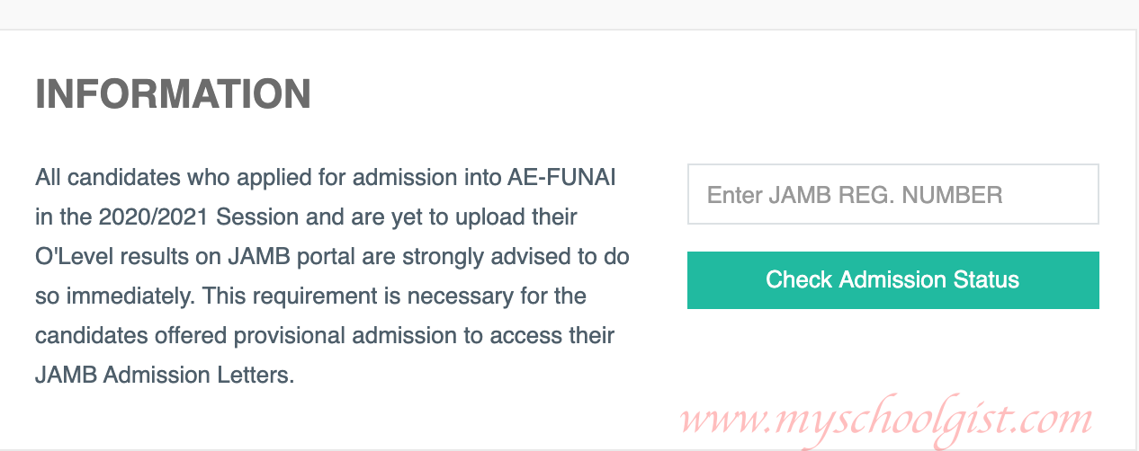 How to Check FUNAI Admission List