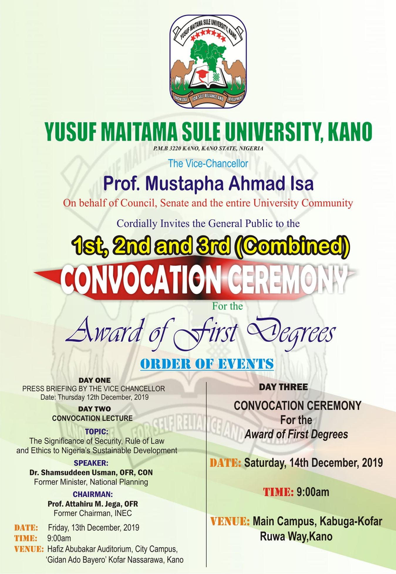 NWU Convocation Ceremony Programme of Events