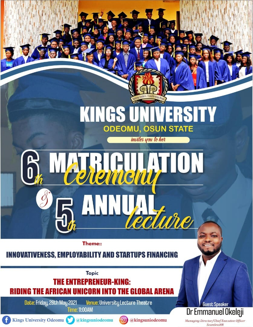 Kings University Matriculation Ceremony / Annual University lecture