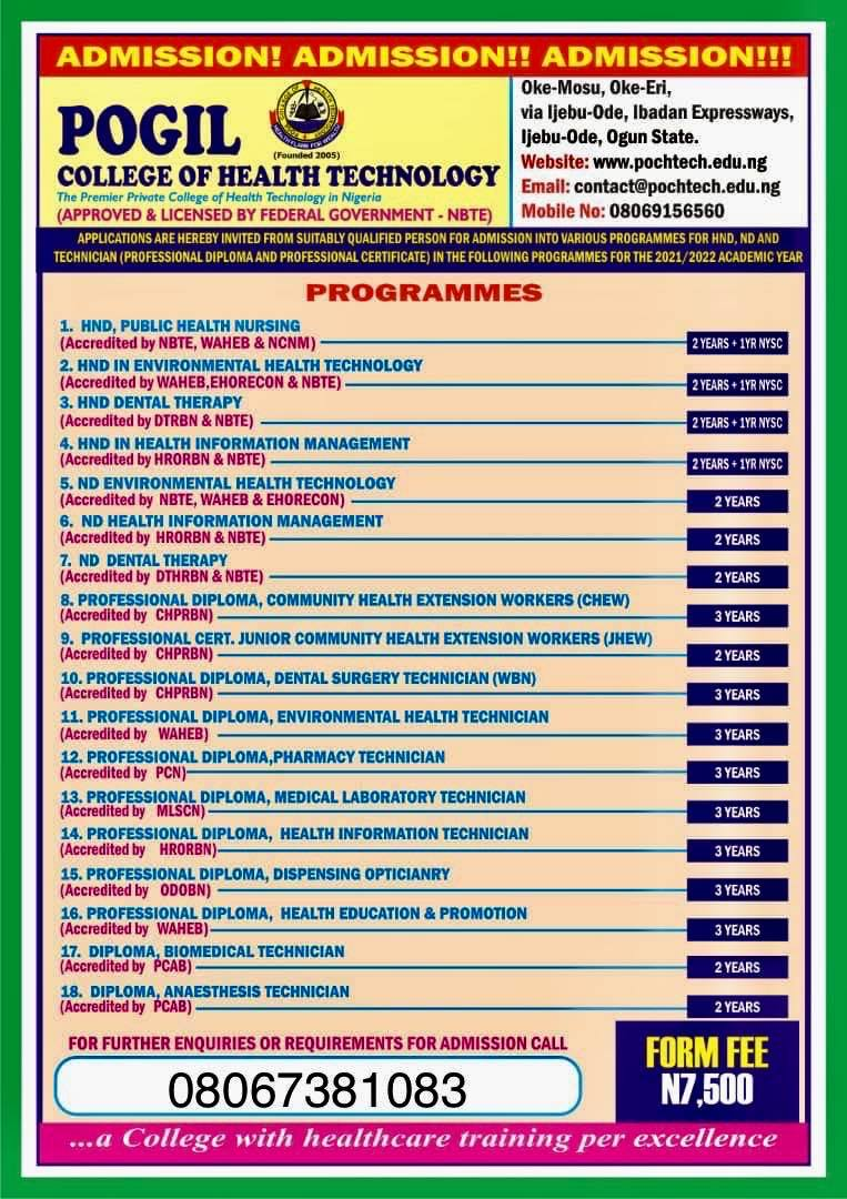 Pogil College of Health Technology (POCHTECH) Admission Advert