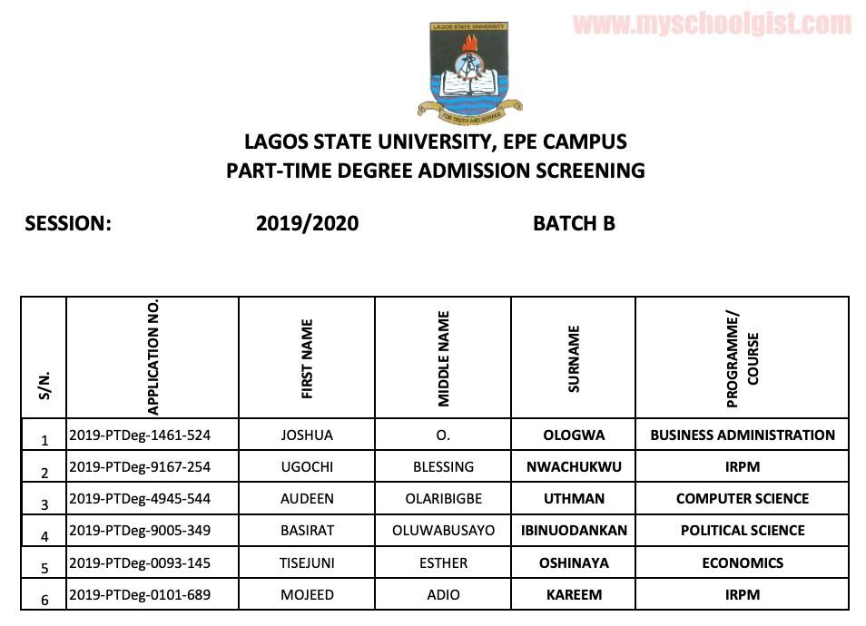 LASU part-time degree admission list b