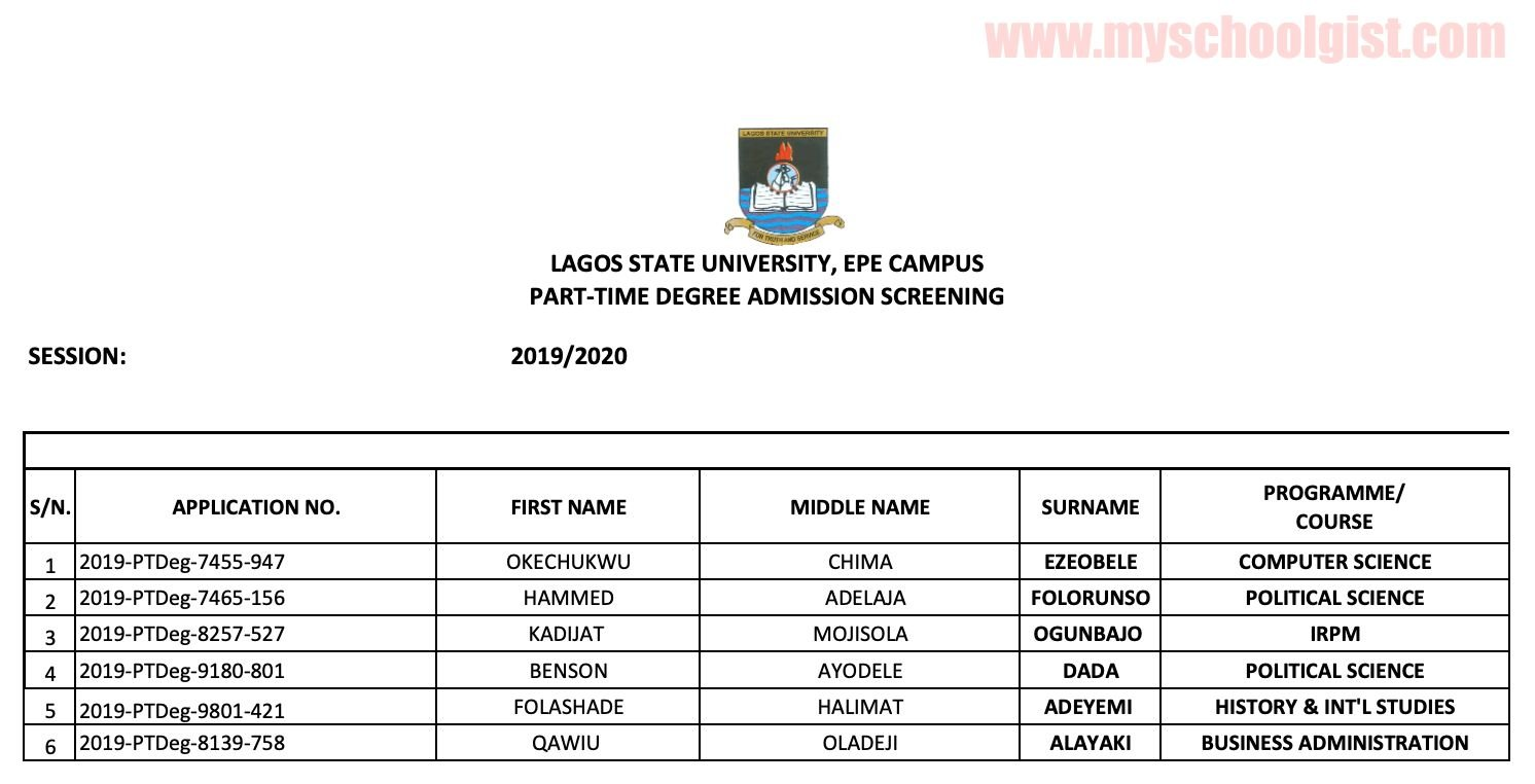 LASU part-time degree admission list c