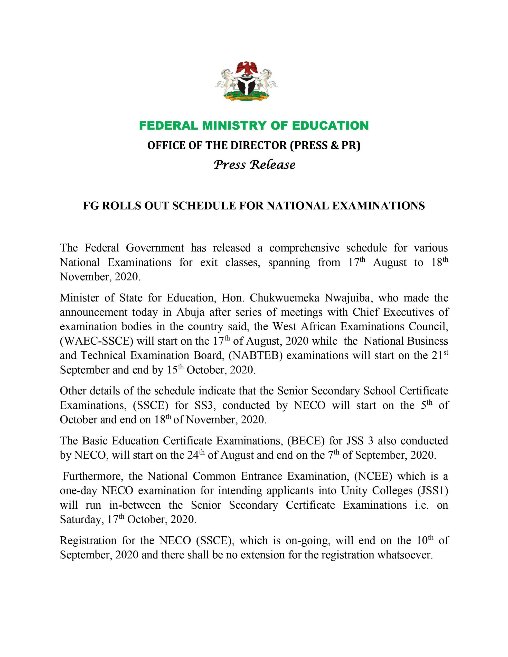 FG Announces Commencement Dates for NECO, NABTEB, Other Examinations