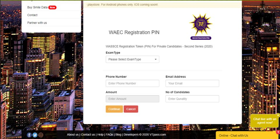 buy WAEC Registration PIN from VTpass