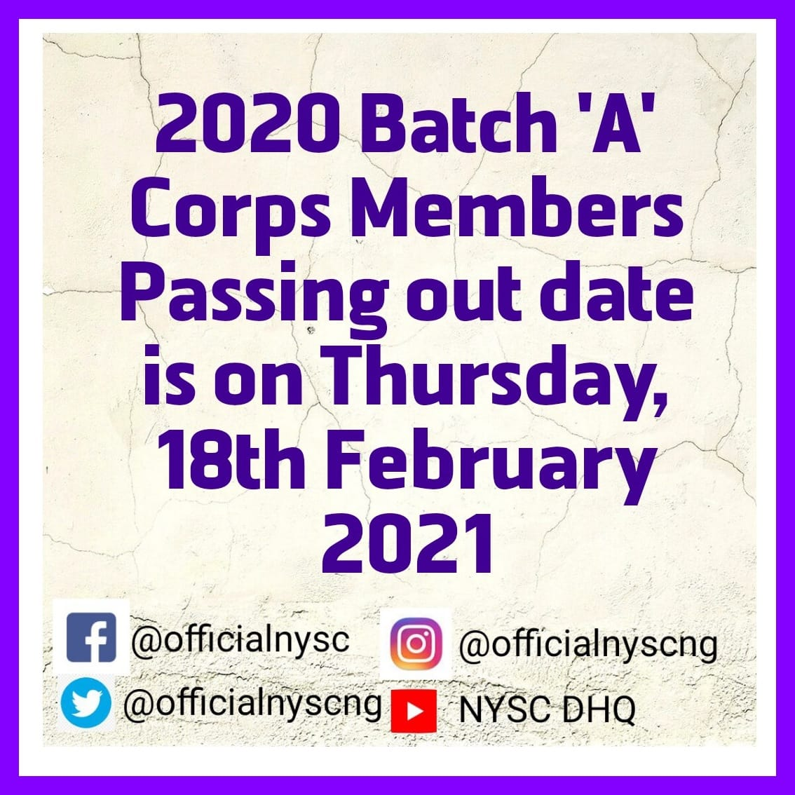 NYSC Passing Out Events for 2020 Batch 'A' Corpers