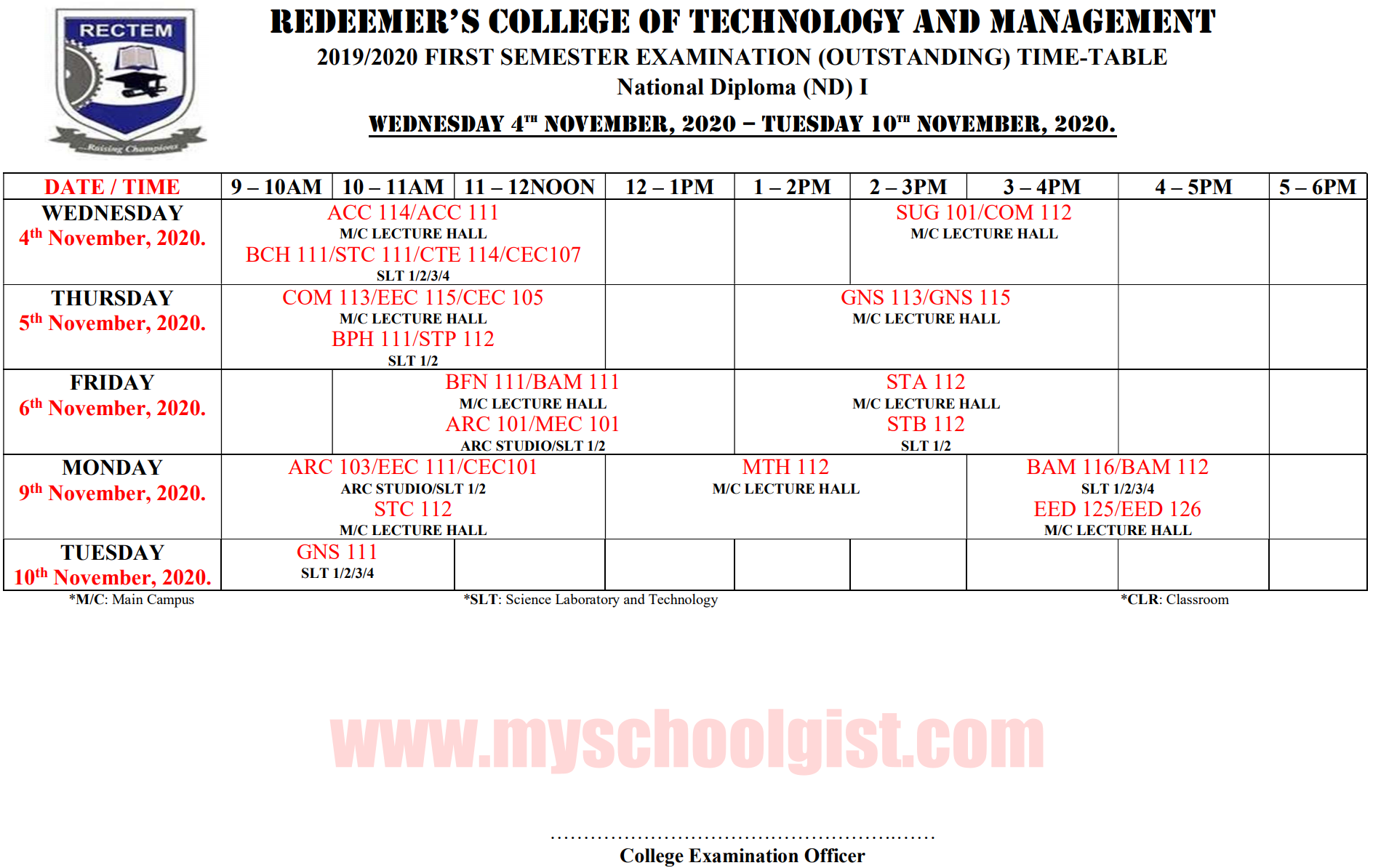 Redeemer's College of Technology and Management (RECTEM) Exam Timetable