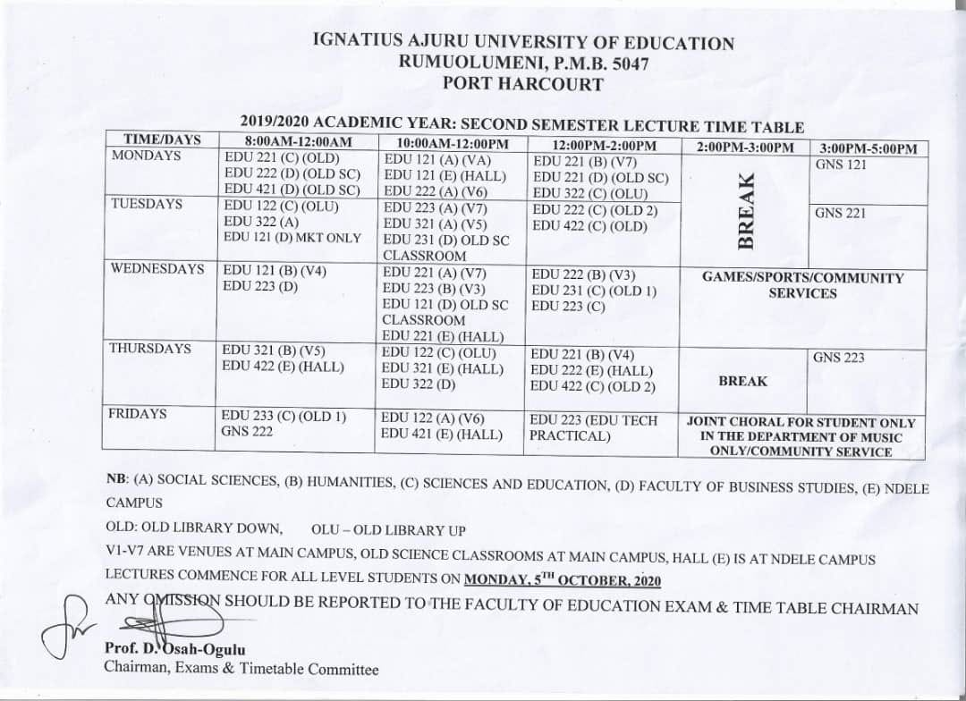 iaue lecture timetable