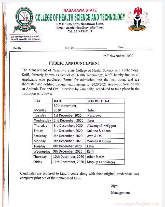Nasarawa State College of Health Science and Technology SCreening Schedule