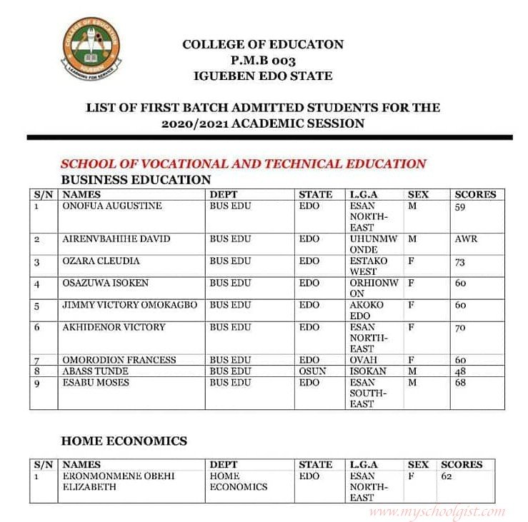 Check College of Education Igueben Admission List
