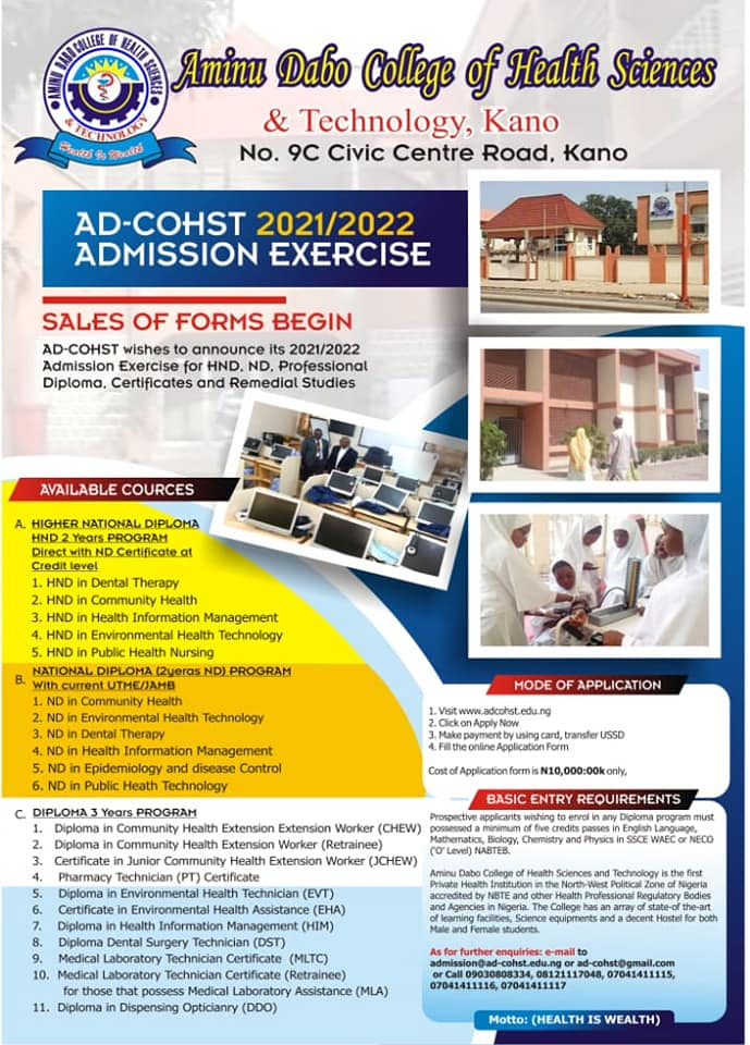 Aminu Dabo College of Health Sciences and Tech Form 2021:2022