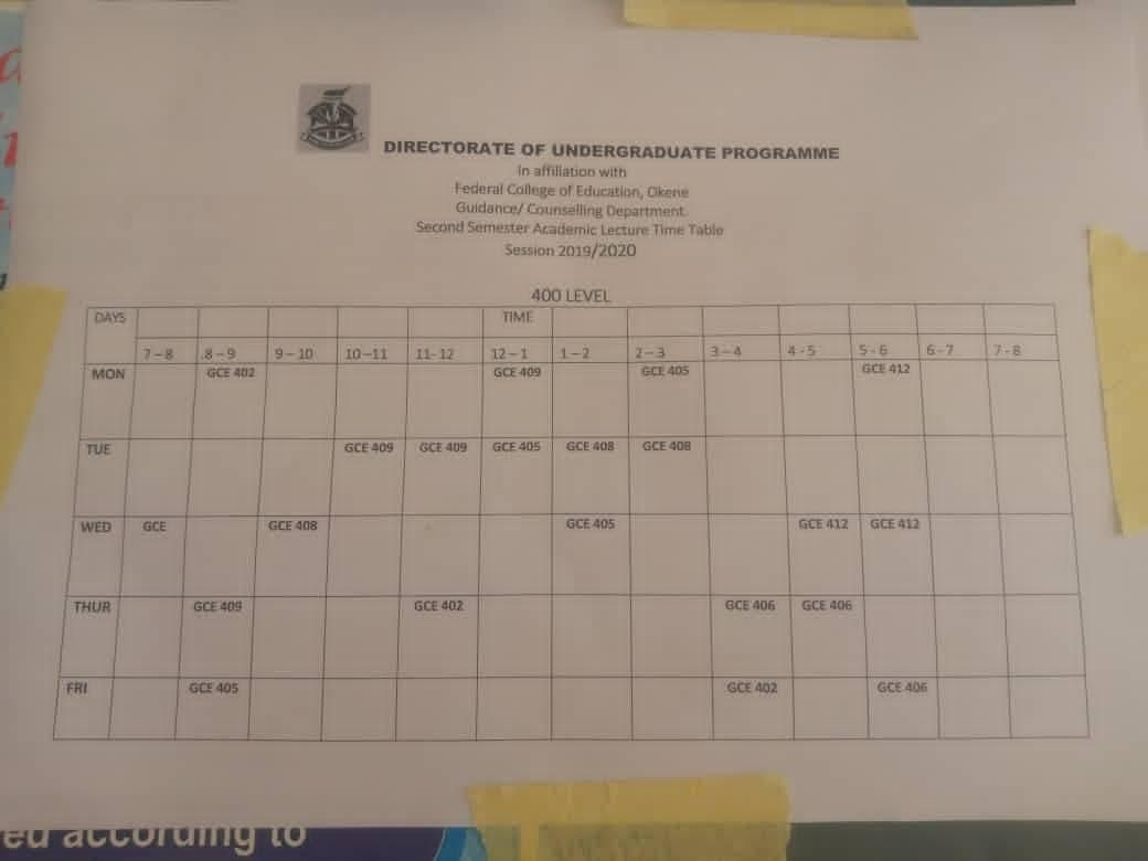 FCE,Okene Affiliated To UI Lecture Timetable