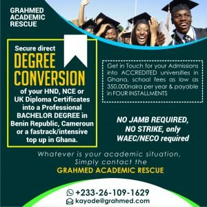 NCE HND IPED ATHE Conversions into BSc, Admissions into Universities in Ghana