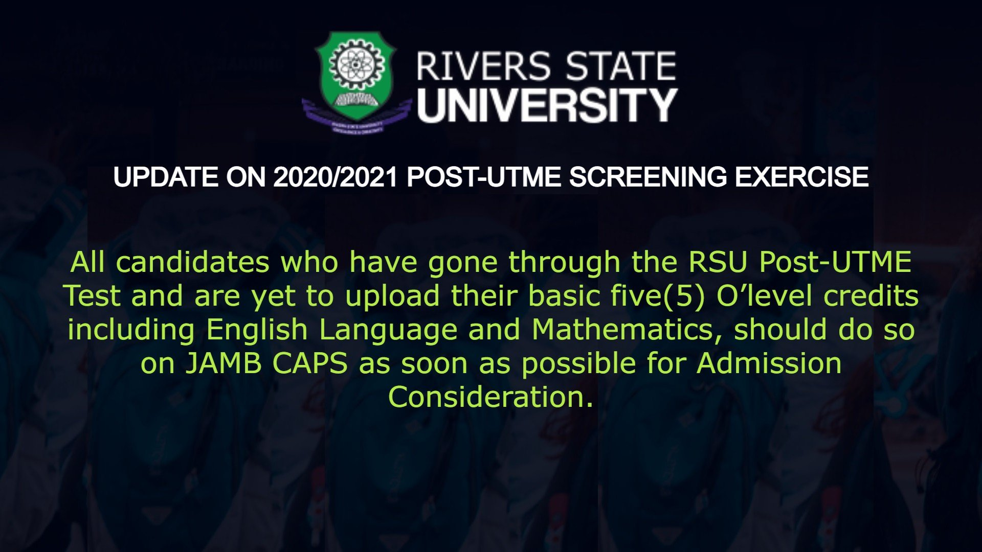 RSU Post UTME Update