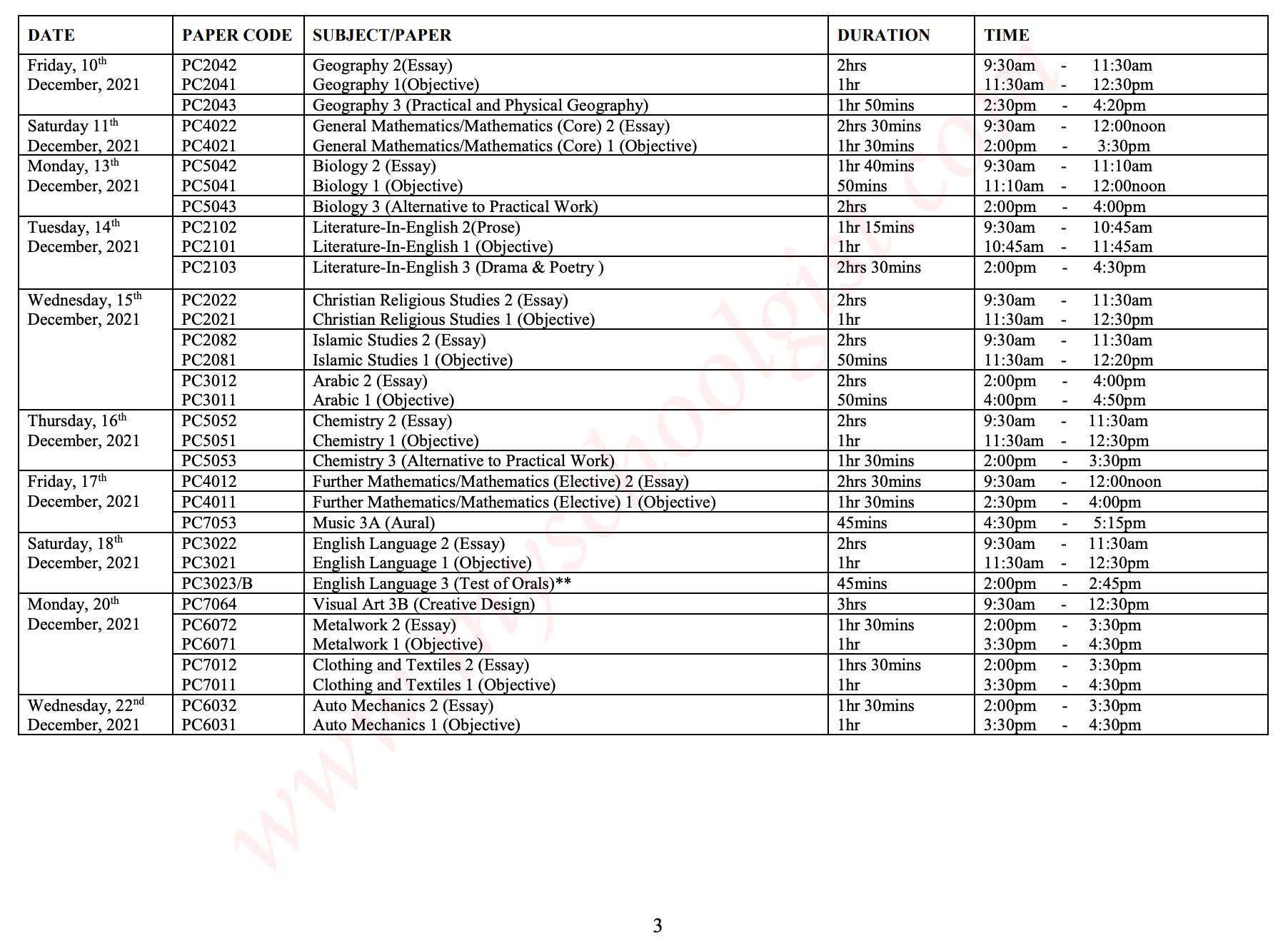2021 WAEC GCE Timetable for 2nd Series