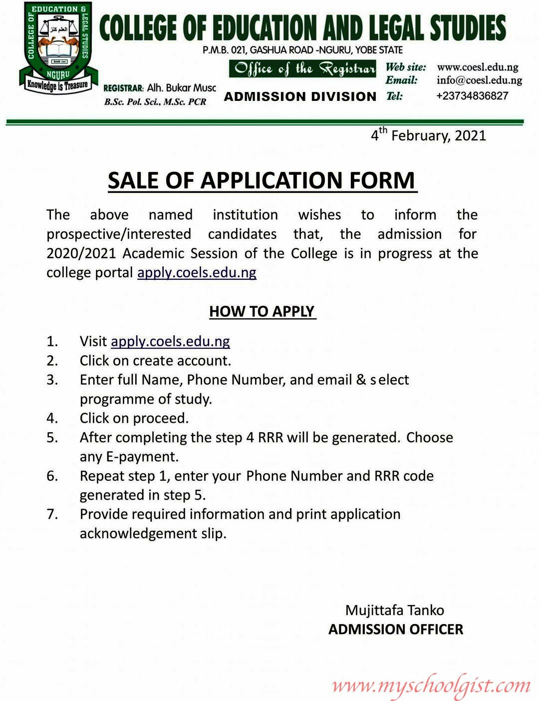 College of Education and Legal Studies, Nguru, Yobe State admission form 2020-2021