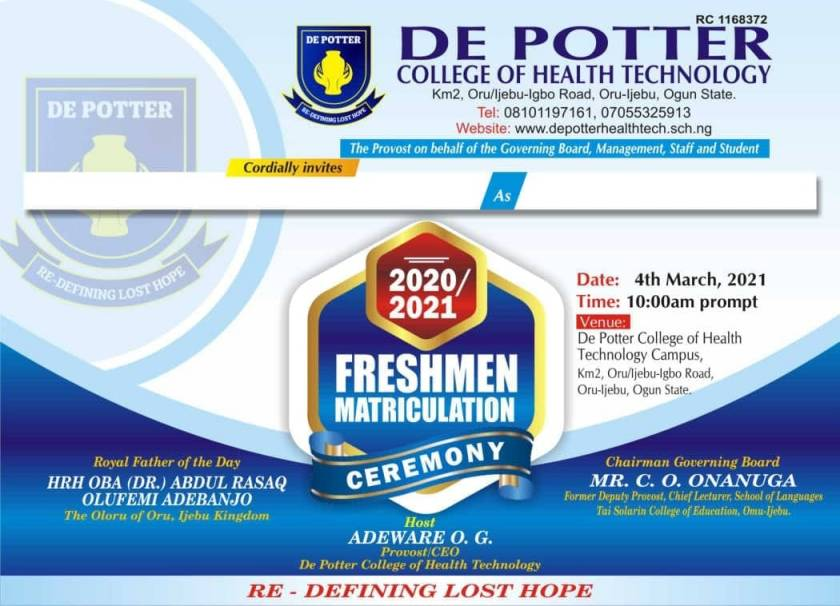 De Potter College of Health Technology Matriculation Ceremony Date