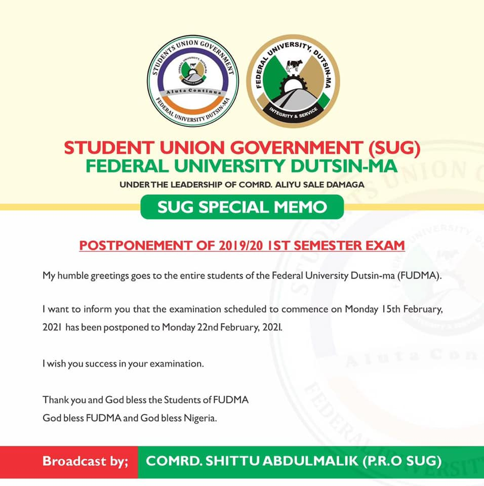 FUDMA Postponed Exam