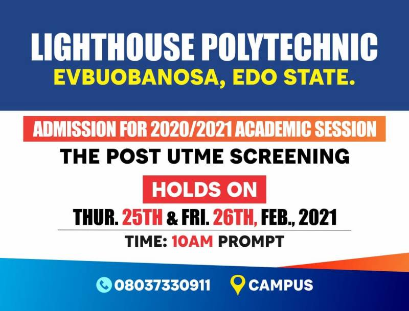 Lighthouse Polytechnic Post UTME Screening